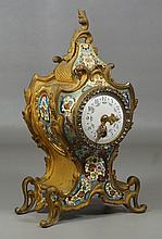 Louis XIV style champlevé and bronze French mantle clock, Rocaille decoration, with rhinestone encircled enameled floral  painted di...