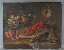 German oil on board, still life with lobster, fruit, etc, signed lower left, G Hemmrich, Munchen, 18 1/2