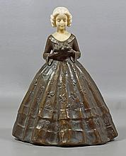 Peter Tereszczuk, Austrian, 1875-1963, Bronze Girl with Ivory head, holding flowers, 9-1/2
