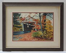 Wini Long, American, b 1921, w/c, Covered bridge in Fall, 13