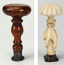 WAX STAMP with ivory handle in the form of a hand. Early 19th c. H 90 mm. T