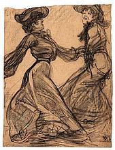 VAARZON MOREL, Willem F.A.I. (1868-1955). Dancing women. N.d. Charcoal on paper. 310 x 238 mm. Monog