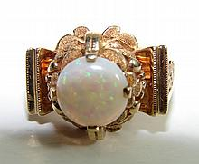 14K Yellow Gold and Opal Ladies Ring.