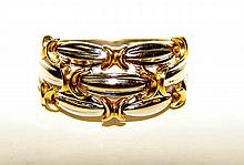 18K Yellow Gold and Platinum Ladies Ring.