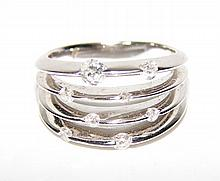 14K White Gold and Diamond Ladies Ring.