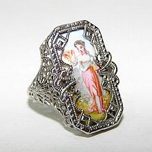 14K White Gold Portrait Ladies Ring.