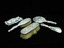 Five Piece Sterling Silver Dresser Set.  19th C.