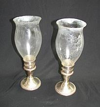 Sterling Silver Candle Holders W/ Shades.