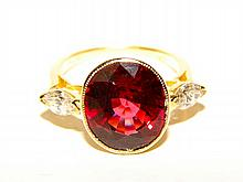 Ladies 18K Yellow Gold Rubelite Diamond Ring.