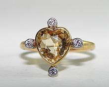 Ladies 18K White Gold, Heart Golden Topaz Ring.