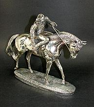Greeny Silver Plated Jockey Statue,  1993.