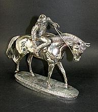 Greeny Silver Plated Jockey Statue,  1993.