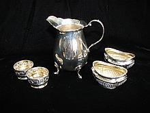 5 American Sterling Silver, Creamer & 4 Open Salts