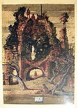 Ink Drawing, Architectural Ruin, Eugene Berman.