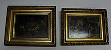 Pair 19th C. Miniature Tavern Paintings