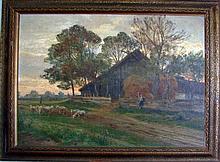 Oil on Board, Rural Scene, Hugo Darnaut