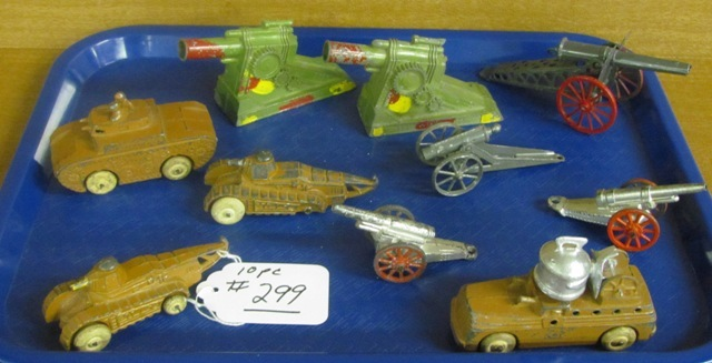 Tray lot of Die cast Tanks and Cannons