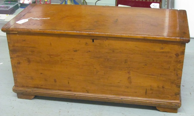 "19th C Blanket Chest having all 4 corner dovetailed, original patina finish with breadboard ends 18"" T x 39"" W x 17"" D"