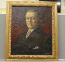 Vintage Leon Lippert Oil painting of Woodrow Wilson