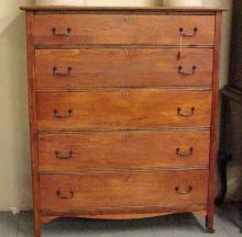 19th Century 5 Drawer Oak Tall Chest