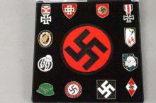 Collection of 12 German WWII Pins and Swastika Patch