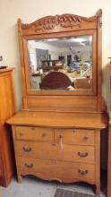 Oak 2 over 2 Dresser with carved skirt