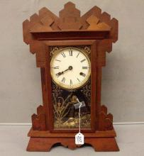 Oak Gingerbread Clock with decorated pendulum and key - working