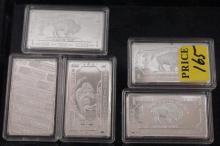Lot of Five German Mint 1 Troy Oz German Silver Bars