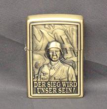 WWII German Lighter with Nazi Flag, Swastika and German Soldier