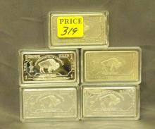 Five German Mint One Troy Oz German Silver Bars