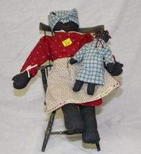 Small Doll Windsor Chair with Mammy Doll and Baby