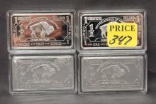 Four German Mint One Troy Oz German Silver Bars