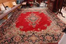Room Size Persian Rug 9.8 ft x 12.3 ft Red with Blue Designs