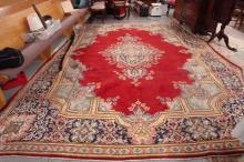 Room Size Persian Rug 9.8 ft x 13.6 ft Red with Blue Designs