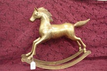 EARLY BRASS ROCKING HORSE