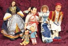 SEVEN EARLY UNMARKED DOLLS