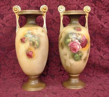 PAIR HAND PAINTED GERMAN VASES