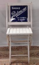 Early Piedmont Cigarette Advertising sign in chair