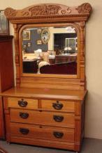 Nice Oak heavily carved Crest 2 over 2 Dresser with Mirror