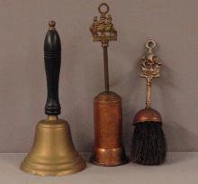 Brass School Bell & Copper Brushes