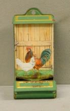 Early Tin Wall Match Holder with Chickens