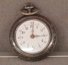 Ladies Antique Sterling Silver Pocket Watch