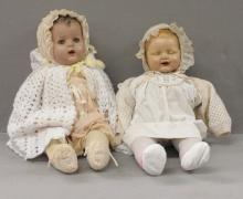 Two Early Dolls with moving eyes and teeth