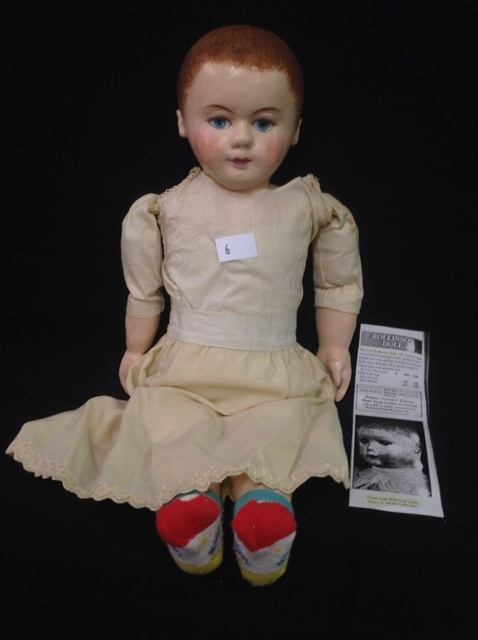 """Rollins Doll in original clothing, great condition 18-22"""" tall from 1916"""