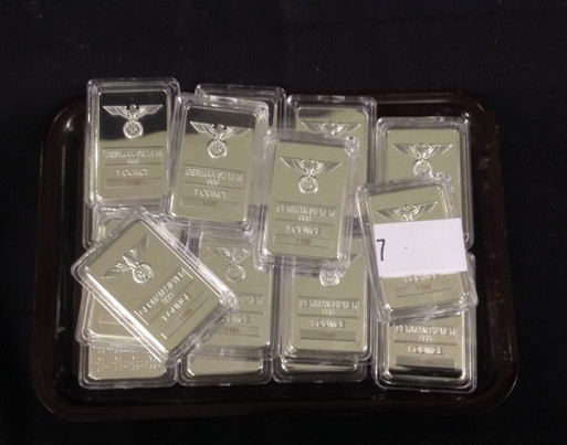 Twenty 1 oz German Silver Ingots featuring Open Eagle over Iron Cross