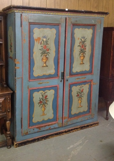 Amish hand painted 2 door cupboard decorated with urn and flowers