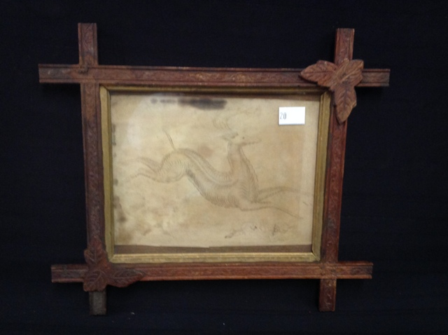 Calligraphy Drawing 1830-40 of Deer found in Botetourt Co, Va in stitched frame