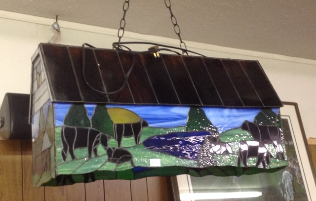 Two bulb Pool table lamp, stained glass, cows and barn