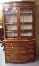 Two Piece French or Italian Bowfront China Cabinet