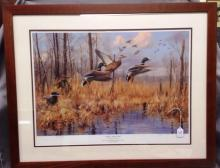 Original signed Duck Print in frame 201/950 - done by Gary Moss